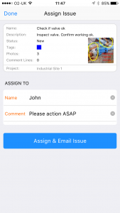 site_report_pro_app_assign_issue_screen